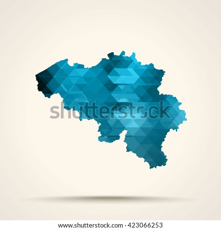 Geometric cyan map of Belgium flag colors