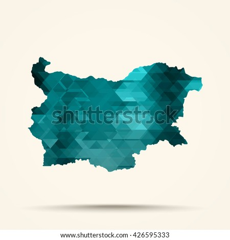 Geometric Cyan map of Bulgaria flag colors