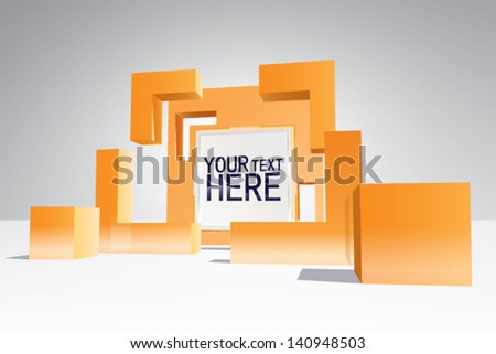 Geometric 3d space, banner - stock vector