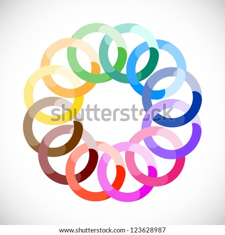 Geometric entwined wheels in color rainbow. Business abstract icon. - stock vector