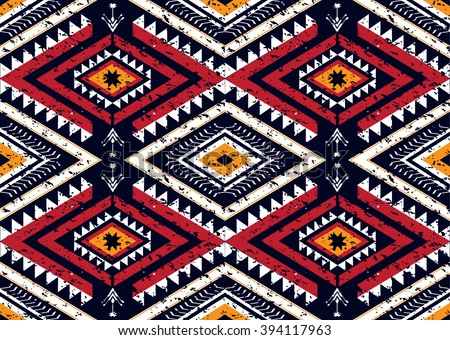 Geometric ethnic oriental seamless pattern traditional Design for background,carpet,wallpaper,clothing,wrapping,Batik,fabric,Vector illustration.embroidery style. - stock vector