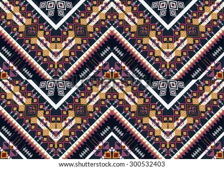 Geometric Ethnic pattern design for background or wallpaper. - stock vector