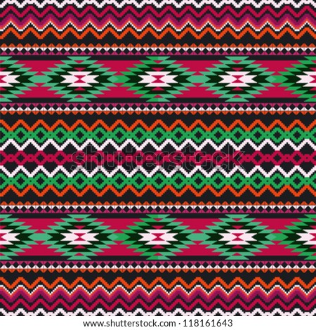 Geometric ethnic textile seamless ornamental background - stock vector