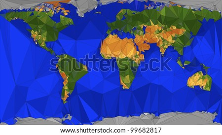 Geometric Folded Paper Map of the world - stock vector