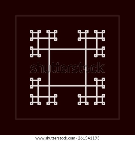 Geometric fractal vector frame in lined minimalistic style. - stock vector