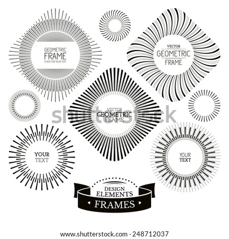 Geometric frames and labels vector illustration - stock vector