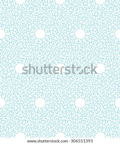 Geometric frosty pattern. Curly winter ornament. Gentle Christmas kaleidoscope background. - stock vector