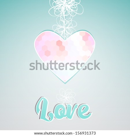 geometric glowing pink heart with text - stock vector