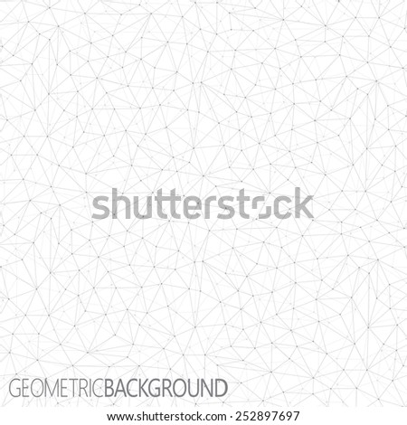 Geometric gray background. Molecule and communication background. - stock vector