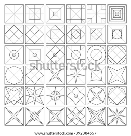 Geometric grids. Transformation of various shapes in square. Sacral changes of life by geometry. Blend of square, rhombus, circle and star. - stock vector