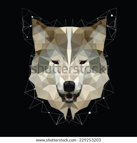 geometric head abstract isolated on a black backgrounds, vector illustration  - stock vector