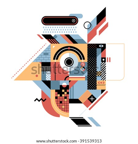Geometric illustration with rooster's head. Style of abstract art, constructivism and modern graffiti. Useful for prints and covers, design element is isolated on white background. - stock vector