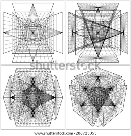 Geometric Intersection Of Six Pyramids Vector 43 - stock vector