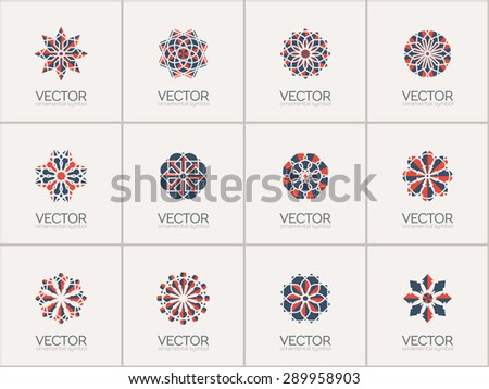 Geometric logo template set. Vector arabic ornamental symbols - stock vector
