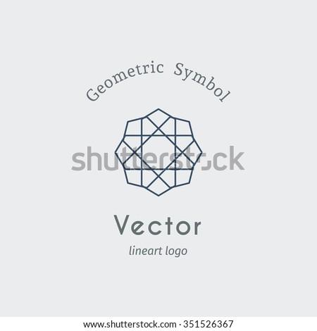 Geometric logo template. Vector ornamental lineart symbol - stock vector