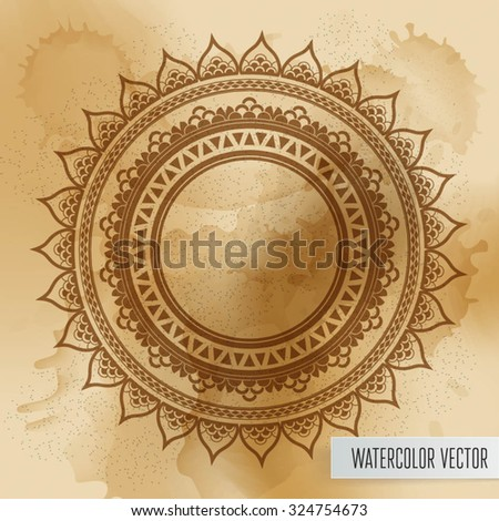 Geometric mandala element made in vector. Vintage decorative elements. Watercolor background. Islam, Arabic, Indian, Tribal motifs.  - stock vector