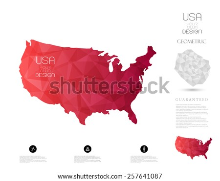 Geometric map-business-USA - stock vector