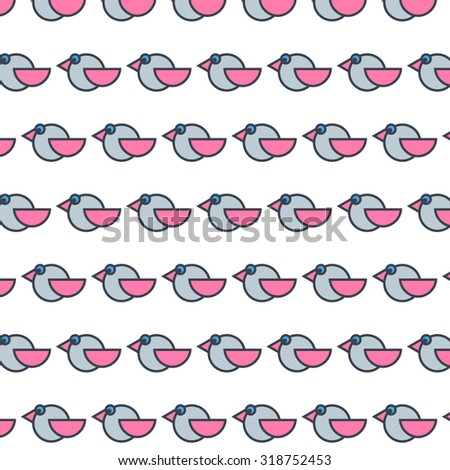 Geometric minimalistic bird pattern. - stock vector