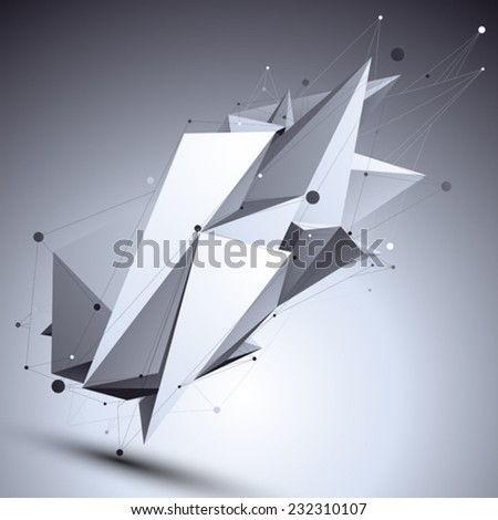 Geometric monochrome polygonal structure with wire mesh, modern black and white scientific and technology shaded background. - stock vector