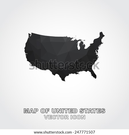 Geometric mosaic map of united states - Vector - stock vector