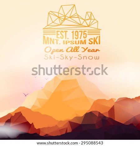 Geometric Mountain and Sunset Background - Vector Illustration - stock vector