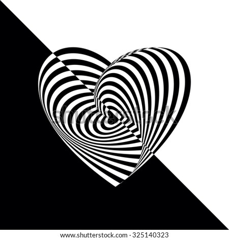 Geometric optical illusion black and white heart on isolated background. Vector illustration - stock vector