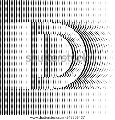 Geometric Optical Illusion Letter D - stock vector