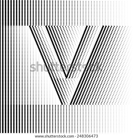 Geometric Optical Illusion Letter V - stock vector
