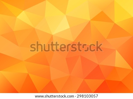 Geometric orange  background with triangular polygons. Abstract design. Vector illustration. - stock vector