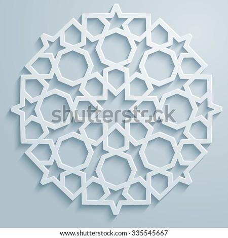 Geometric ornament arabic round pattern background - persian decorative - stock vector