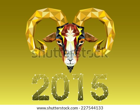 Geometric pattern goat. Vector illustration. Chinese astrological sign.  - stock vector