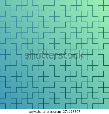 Geometric pattern of cell lines. Diagonal color change from blue to azure. Lines in the form of steps intersection in the crosses. Vector background for wallpapers and presentations. Elegant design. - stock vector