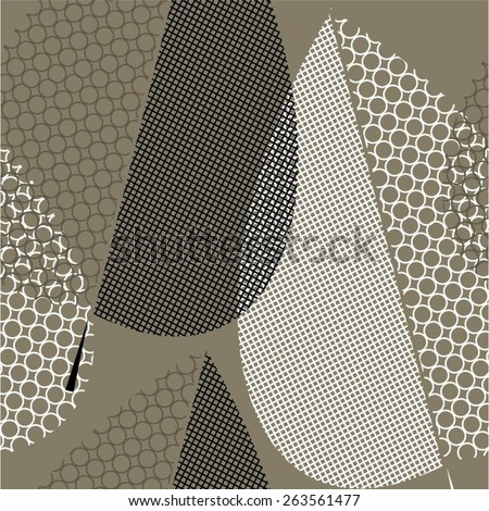 Geometric pattern of creative leaves seamless vector background. - stock vector