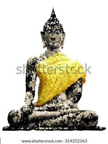 Geometric pattern Thailand Ayutthaya Buddha statue - stock vector
