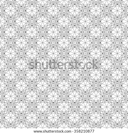 Geometric pattern with dense, intersecting, thin lines. Symmetric monochrome grid, mesh pattern. Seamlessly repeatable. - stock vector