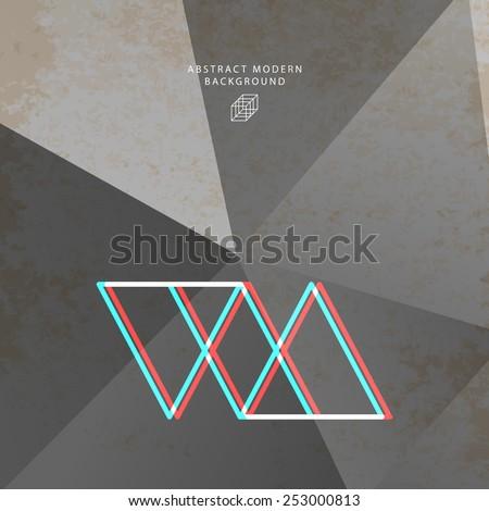 Geometric Pattern with Hipster Logo for Website, Brochure, Flyer or Poster Design. Monochrome Illustration for Business Cover Design. - stock vector