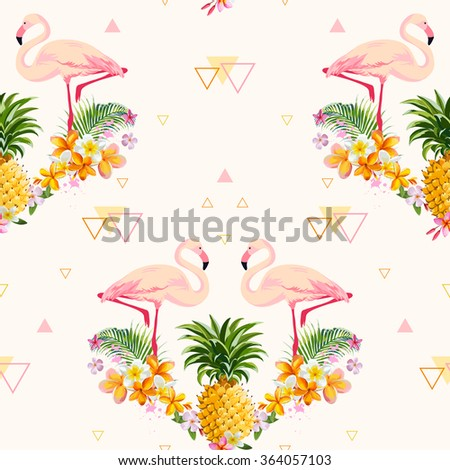 Geometric Pineapple and Flamingo Background - Seamless Pattern in vector - stock vector