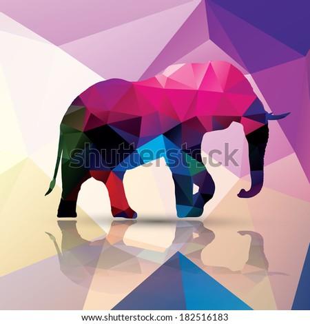 Geometric polygonal elephant, pattern design, vector illustration - stock vector