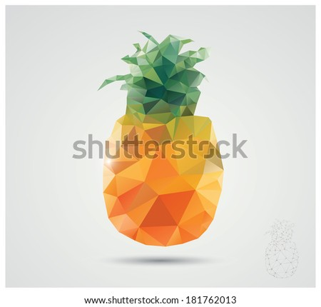 Geometric polygonal fruit, triangles, pineapple, vector illustration - stock vector