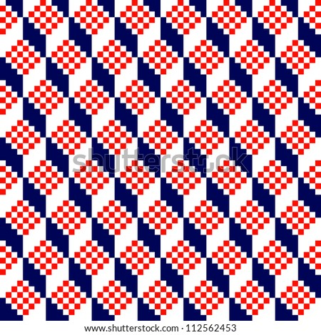 Geometric red and blue seamless pattern. Vector - stock vector
