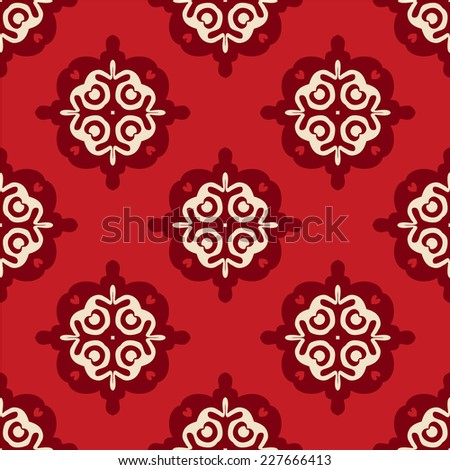Geometric red Christmas  tiled vector seamless pattern - stock vector