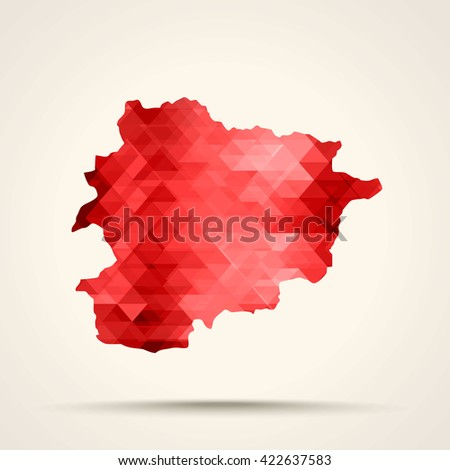 Geometric red map of Andorra flag colors