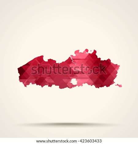 Geometric red map of Flanders flag colors