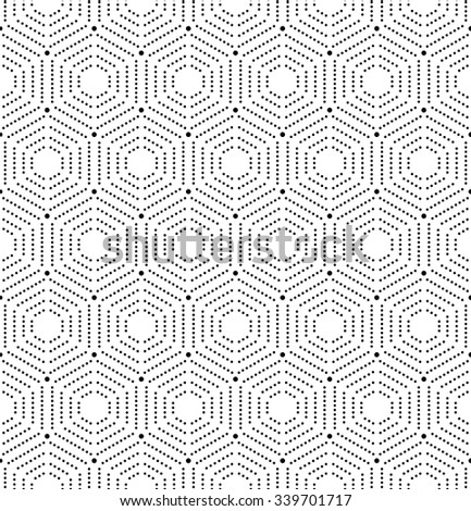 Geometric repeating vector hexagonal ornament with black dots. Seamless abstract modern pattern - stock vector