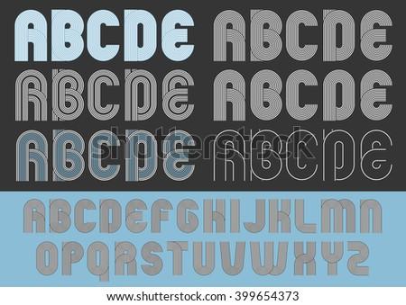 Geometric round lines typeface - stock vector