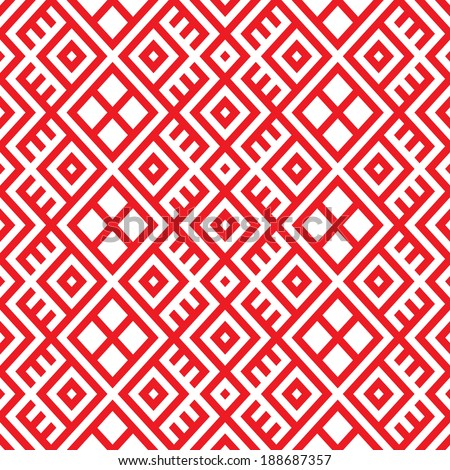 geometric seamless ethnic pattern background in red and white colors, vector illustration  - stock vector