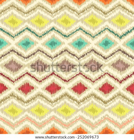 Geometric seamless multicolor ornamental background with zigzag line and rhombus in vector. Ethnic textile pattern. Bright tribal texture - stock vector
