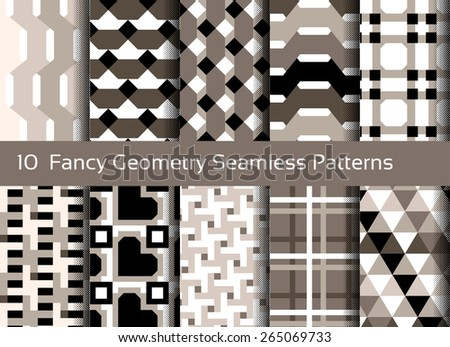 Geometric seamless pattern background. Set of 10 abstact motifs. Monochrome sepia colors - stock vector