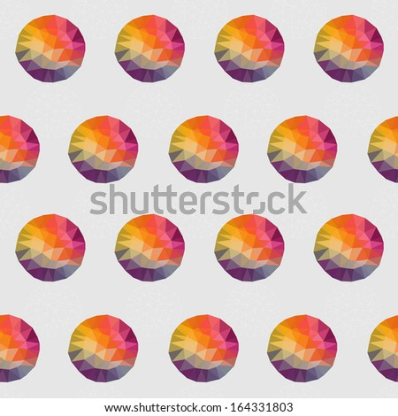 Geometric seamless pattern, Round shapes made of triangles - stock vector