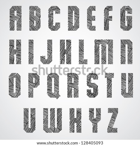 Geometric shape bold poster letters font with hand drawn lines pattern, sketch doddle style drawing vector alphabet. None of existing fonts were used, letters designed specially. - stock vector